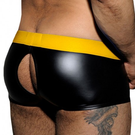 Shorty Open Back Fetish Rub Noir - Jaune