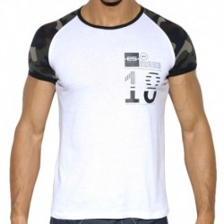 Camo Raglan Sleeve T-Shirt - White