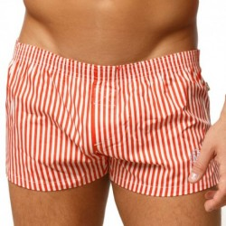 Marcuse Caleçon Stripes Orange - Blanc