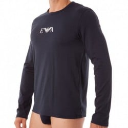 Stretch Cotton Lon-Sleeved T-Shirt - Navy