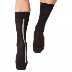 Rubber Logo Clock Socks - Black