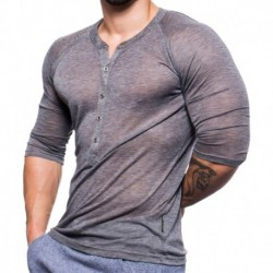 T-Shirt Henley Black Collection Gris