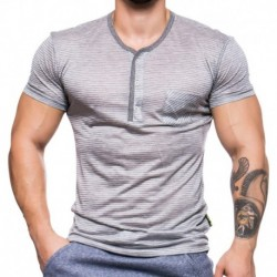 T-Shirt Henley Black Collection Rayé Gris - Blanc