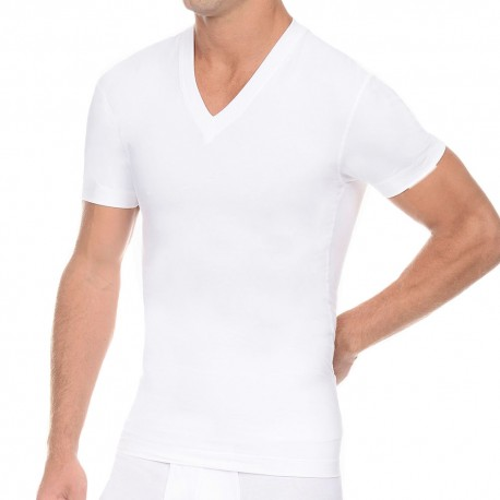 2(x)ist T-Shirt Slimming V-Neck Blanc