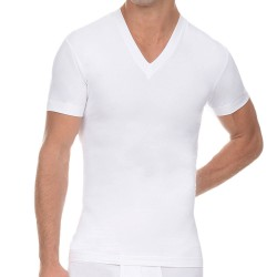 T-Shirt Slimming V-Neck Blanc