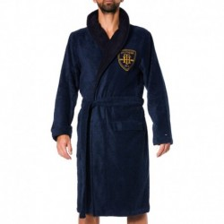 Heritage Embroidery Bathrobe - Navy