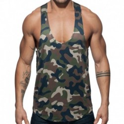 Addicted Combi Camo Tank Top - Khaki - Black