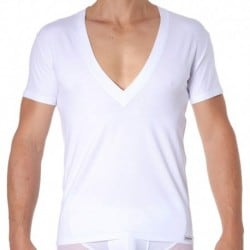 T-Shirt Essential Col V Super Low Blanc