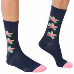 Flowers Socks - Navy