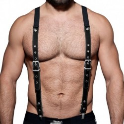 AD Fetish Suspenders - Black - Silver