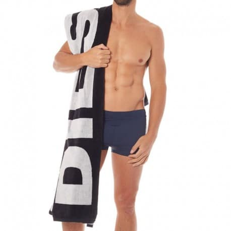 Diesel Logo Beach Towel - Black
