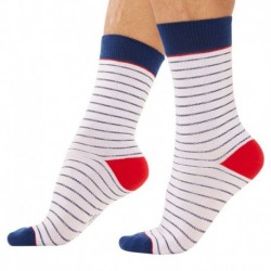 3-Pack Cotton Socks - Blue - White - Red