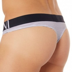 Sailor Stripe Micro Thong - White - Navy