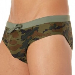 Sundek Wisconsin Swim Brief - Green Camouflage