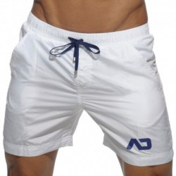 Long Basic Swim Short - White