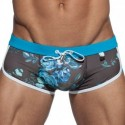 Shorty de Bain Marais Flowers Bleu Paon