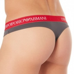 Essential Microfiber Thong - Charcoal - Red