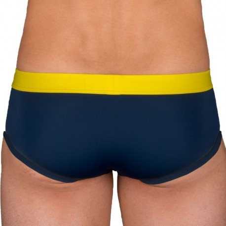 Garçon Français Swim Brief - Navy - Yellow