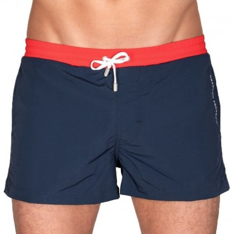 Garçon Français Swim Short - Navy - Red