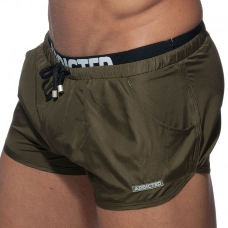 Addicted Double Waistband Swim Short - Khaki