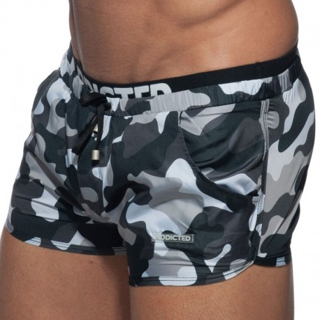 Addicted Short De Bain Double Waistband Camouflage Gris