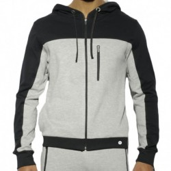 ES Collection Combi Pique Hoody - Navy - Grey