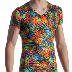 Manstore M801 V-Neck T-Shirt - Rainbow