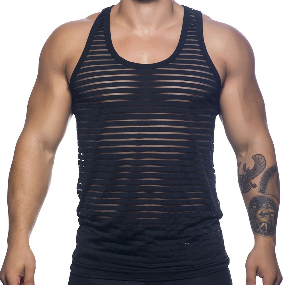 6f24eb81d0f51c Andrew Christian Sheer Stripe Tank - Black