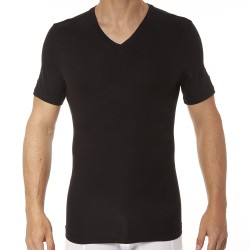 Cotton Compression V-Neck T-Shirt - Black