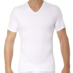 Cotton Compression V-Neck T-Shirt - White