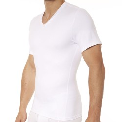 Spanx T-Shirt Cotton Compression Col V Blanc