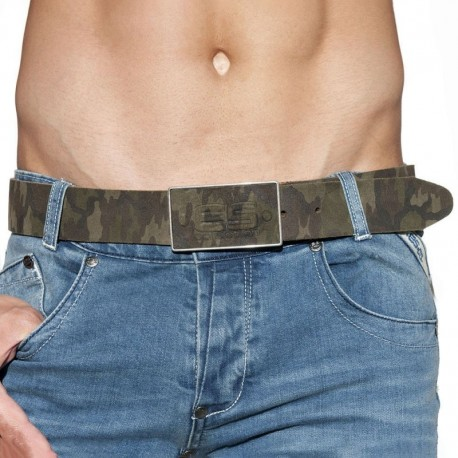 ES Collection Camo Leather Belt - Khaki
