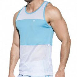 Fit Mesh Tank Top - White - Turquoise
