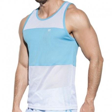 ES Collection Fit Mesh Tank Top - White - Turquoise