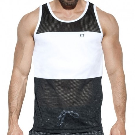 ES Collection Débardeur Fit Mesh Noir - Blanc