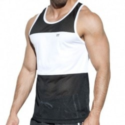 Fit Mesh Tank Top - Black - White