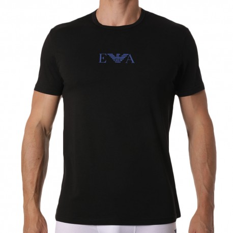 Emporio Armani Monogram T-Shirt - Black - Royal