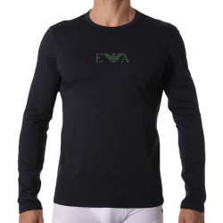 Emporio Armani Monogram Long-Sleeved T-Shirt - Navy