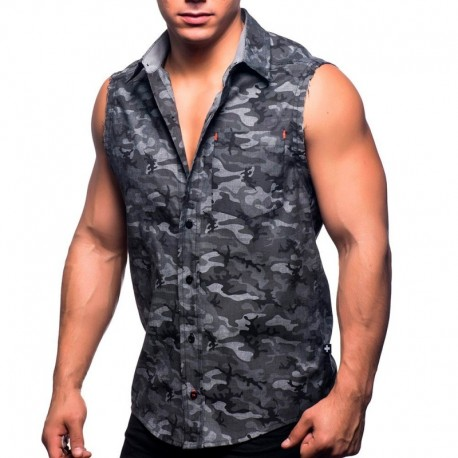 Andrew Christian City Camo Sleeveless Shirt - Grey