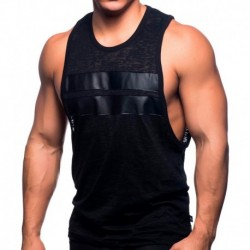 Andrew Christian Burnout Low Armhole Tank Top - Black