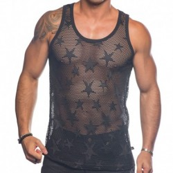 Andrew Christian Star Mesh Tank Top - Black