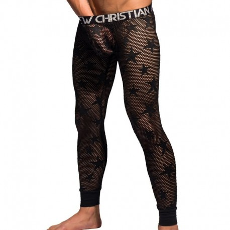 Andrew Christian Legging Almost Naked Mesh Star Noir