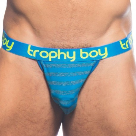 Andrew Christian Trophy Boy Jock - Electric Blue Stripe