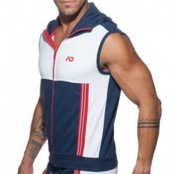 Addicted AD Sleeveless Hoody - Navy - White