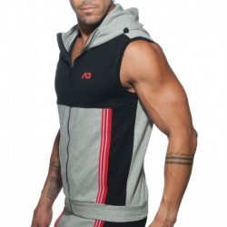 Addicted AD Sleeveless Hoody - Grey - Black